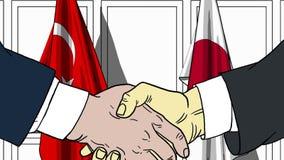 Zakenlieden of politici die handen schudden tegen vlaggen van Turkije en Japan Vergadering of samenwerking verwant beeldverhaal royalty-vrije illustratie