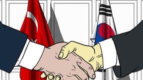 Zakenlieden of politici die handen schudden tegen vlaggen van Turkije en Korea Vergadering of samenwerking verwant beeldverhaal royalty-vrije illustratie
