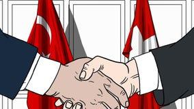 Zakenlieden of politici die handen schudden tegen vlaggen van Turkije en Zwitserland Vergadering of samenwerking verwant beeldver vector illustratie