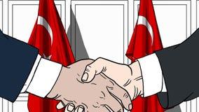 Zakenlieden of politici die handen schudden tegen vlaggen van Turkije Vergadering of samenwerking verwante beeldverhaalillustrati royalty-vrije illustratie