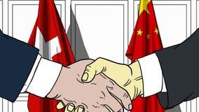 Zakenlieden of politici die handen schudden tegen vlaggen van Zwitserland en China Vergadering of samenwerking verwant beeldverha royalty-vrije illustratie