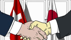 Zakenlieden of politici die handen schudden tegen vlaggen van Zwitserland en Japan Vergadering of samenwerking verwant beeldverha vector illustratie