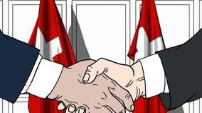 Zakenlieden of politici die handen schudden tegen vlaggen van Zwitserland Vergadering of samenwerking verwant beeldverhaal vector illustratie
