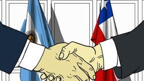 Zakenlieden of politicischokhanden tegen vlaggen van Argentinië en Chili Officiële verwante vergadering of samenwerking vector illustratie