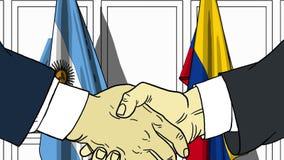 Zakenlieden of politicischokhanden tegen vlaggen van Argentinië en Colombia Officiële verwante vergadering of samenwerking stock illustratie