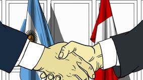 Zakenlieden of politicischokhanden tegen vlaggen van Argentinië en Peru Officiële verwante vergadering of samenwerking royalty-vrije illustratie