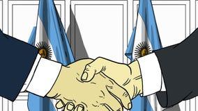 Zakenlieden of politicischokhanden tegen vlaggen van Argentinië Officiële vergadering of samenwerking verwant beeldverhaal vector illustratie