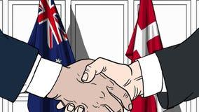 Zakenlieden of politicischokhanden tegen vlaggen van Australië en Denemarken Officiële verwante vergadering of samenwerking vector illustratie