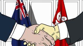 Zakenlieden of politicischokhanden tegen vlaggen van Australië en Hong Kong Officiële verwante vergadering of samenwerking royalty-vrije illustratie