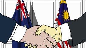 Zakenlieden of politicischokhanden tegen vlaggen van Australië en Maleisië Officiële verwante vergadering of samenwerking vector illustratie