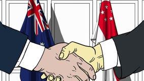 Zakenlieden of politicischokhanden tegen vlaggen van Australië en Singapore Officiële verwante vergadering of samenwerking royalty-vrije illustratie