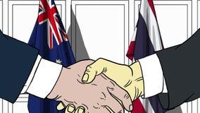 Zakenlieden of politicischokhanden tegen vlaggen van Australië en Thailand Officiële verwante vergadering of samenwerking stock illustratie