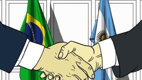 Zakenlieden of politicischokhanden tegen vlaggen van Brazilië en Argentinië Officiële verwante vergadering of samenwerking royalty-vrije illustratie