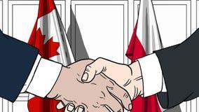 Zakenlieden of politicischokhanden tegen vlaggen van Canada en Polen Officiële verwante vergadering of samenwerking royalty-vrije illustratie