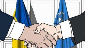 Zakenlieden of politicischokhanden tegen vlaggen van de Oekra?ne en de Verenigde Naties Offici?le vergadering of samenwerking royalty-vrije illustratie