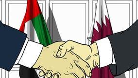 Zakenlieden of politicischokhanden tegen vlaggen van de V.A.E en Qatar Officiële vergadering of samenwerking verwant beeldverhaal royalty-vrije illustratie