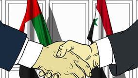 Zakenlieden of politicischokhanden tegen vlaggen van de V.A.E en Syrië Officiële vergadering of samenwerking verwant beeldverhaal stock illustratie
