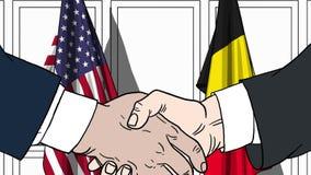 Zakenlieden of politicischokhanden tegen vlaggen van de V.S. en België Officiële vergadering of samenwerking verwant beeldverhaal vector illustratie