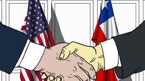 Zakenlieden of politicischokhanden tegen vlaggen van de V.S. en Chili Officiële vergadering of samenwerking verwant beeldverhaal vector illustratie