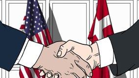Zakenlieden of politicischokhanden tegen vlaggen van de V.S. en Denemarken Officiële vergadering of samenwerking verwant beeldver stock illustratie