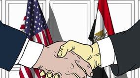 Zakenlieden of politicischokhanden tegen vlaggen van de V.S. en Egypte Officiële vergadering of samenwerking verwant beeldverhaal royalty-vrije illustratie