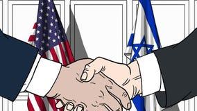 Zakenlieden of politicischokhanden tegen vlaggen van de V.S. en Israël Officiële vergadering of samenwerking verwant beeldverhaal royalty-vrije illustratie