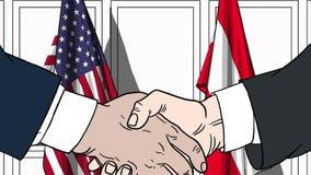 Zakenlieden of politicischokhanden tegen vlaggen van de V.S. en Oostenrijk Officiële vergadering of samenwerking verwant beeldver stock illustratie