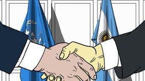 Zakenlieden of politicischokhanden tegen vlaggen van de Verenigde Naties en Argentinië Officiële vergadering of samenwerking vector illustratie
