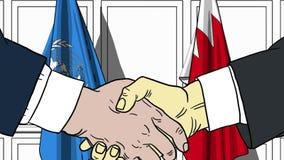 Zakenlieden of politicischokhanden tegen vlaggen van de Verenigde Naties en Bahrein Offici?le vergadering of samenwerking vector illustratie