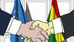 Zakenlieden of politicischokhanden tegen vlaggen van de Verenigde Naties en Bolivi? Offici?le vergadering of samenwerking vector illustratie
