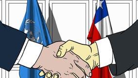 Zakenlieden of politicischokhanden tegen vlaggen van de Verenigde Naties en Chili Officiële vergadering of samenwerking stock illustratie