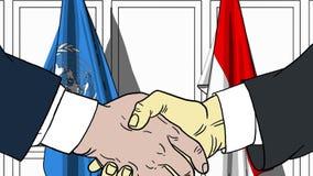 Zakenlieden of politicischokhanden tegen vlaggen van de Verenigde Naties en Indonesië Officiële vergadering of samenwerking stock illustratie