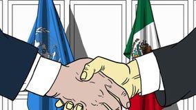 Zakenlieden of politicischokhanden tegen vlaggen van de Verenigde Naties en Mexico Officiële vergadering of samenwerking royalty-vrije illustratie