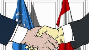 Zakenlieden of politicischokhanden tegen vlaggen van de Verenigde Naties en Peru Officiële verwante vergadering of samenwerking stock illustratie