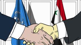 Zakenlieden of politicischokhanden tegen vlaggen van de Verenigde Naties en Syrië Officiële vergadering of samenwerking royalty-vrije illustratie