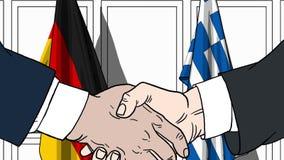 Zakenlieden of politicischokhanden tegen vlaggen van Duitsland en Griekenland Officiële verwante vergadering of samenwerking royalty-vrije illustratie