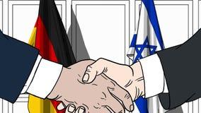 Zakenlieden of politicischokhanden tegen vlaggen van Duitsland en Israël Officiële verwante vergadering of samenwerking stock illustratie