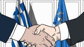 Zakenlieden of politicischokhanden tegen vlaggen van Griekenland en de Verenigde Naties Officiële vergadering of samenwerking royalty-vrije illustratie