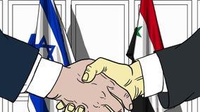 Zakenlieden of politicischokhanden tegen vlaggen van Israël en Syrië Officiële verwante vergadering of samenwerking vector illustratie