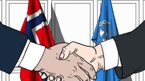 Zakenlieden of politicischokhanden tegen vlaggen van Noorwegen en de Verenigde Naties Officiële vergadering of samenwerking stock illustratie
