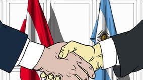 Zakenlieden of politicischokhanden tegen vlaggen van Oostenrijk en Argentinië Officiële verwante vergadering of samenwerking stock illustratie