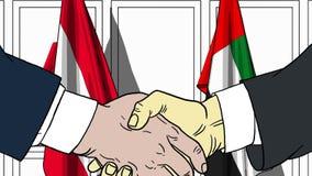 Zakenlieden of politicischokhanden tegen vlaggen van Oostenrijk en de V.A.E Officiële vergadering of samenwerking verwant beeldve vector illustratie