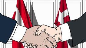 Zakenlieden of politicischokhanden tegen vlaggen van Oostenrijk en Denemarken Officiële verwante vergadering of samenwerking royalty-vrije illustratie