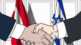 Zakenlieden of politicischokhanden tegen vlaggen van Oostenrijk en Israël Officiële verwante vergadering of samenwerking stock illustratie