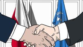 Zakenlieden of politicischokhanden tegen vlaggen van Polen en de Verenigde Naties Officiële vergadering of samenwerking vector illustratie