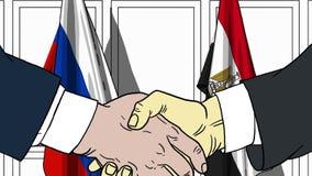 Zakenlieden of politicischokhanden tegen vlaggen van Rusland en Egypte Officiële verwante vergadering of samenwerking stock illustratie