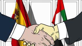 Zakenlieden of politicischokhanden tegen vlaggen van Spanje en de V.A.E Officiële vergadering of samenwerking verwant beeldverhaa stock illustratie