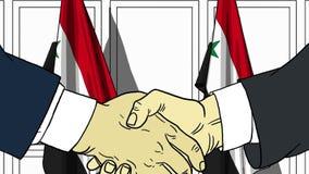 Zakenlieden of politicischokhanden tegen vlaggen van Syrië Officiële vergadering of samenwerking verwant beeldverhaal stock illustratie