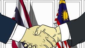 Zakenlieden of politicischokhanden tegen vlaggen van Thailand en Maleisië Officiële verwante vergadering of samenwerking vector illustratie