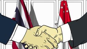 Zakenlieden of politicischokhanden tegen vlaggen van Thailand en Singapore Officiële verwante vergadering of samenwerking royalty-vrije illustratie